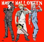 1girl 2boys absurdres alternate_costume black_footwear black_hair black_jacket black_pants black_shirt blonde_hair blood bloody_clothes bloody_weapon chainsaw chainsaw_man child's_play chucky chucky_(cosplay) cigarette collared_shirt cosplay crosshair_pupils demon_girl demon_horns denji_(chainsaw_man) friday_the_13th h9r9h9r9 halloween halloween_costume hammer happy_halloween hayakawa_aki_(chainsaw_man) highres holding holding_hammer holding_sword holding_weapon horns horror_(theme) jacket jason_voorhees jason_voorhees_(cosplay) licking licking_weapon long_hair long_sleeves looking_at_viewer mask mask_removed multiple_boys open_mouth pants ponytail power_(chainsaw_man) red_horns sharp_teeth shirt shoes short_hair smoke smoking sneakers stitched_face sword t-shirt teeth tongue tongue_out topknot very_long_hair weapon