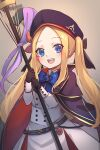 1girl :d abigail_williams_(fate/grand_order) artoria_pendragon_(all) artoria_pendragon_(caster) artoria_pendragon_(caster)_(cosplay) bangs belt beret black_bow blonde_hair blue_belt blue_cape blue_eyes blue_headwear bow breasts cape cosplay dress fate/grand_order fate_(series) forehead hat highres holding holding_staff long_hair miya_(miyaruta) multiple_bows open_mouth orange_bow parted_bangs small_breasts smile solo staff twintails upper_teeth white_dress