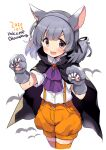 1girl :d animal_ears black_cape blush buttons cape collared_shirt cropped_legs dated eyebrows_visible_through_hair fake_animal_ears fang grey_eyes grey_hair halloween halloween_costume kantai_collection odawara_hakone ooshio_(kantai_collection) open_mouth orange_shorts paws shirt short_hair short_sleeves shorts simple_background skin_fang smile solo twintails twitter_username v-shaped_eyebrows white_background white_shirt wolf_ears wolf_paws