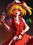 1girl absurdres alternate_weapon artist_name bangs black_background blonde_hair brown_background bullet buttons collared_shirt commentary cowboy_shot crr001 english_commentary eyebrows_visible_through_hair fangs finger_on_trigger fingernails flandre_scarlet floating_hair frilled_cuffs frilled_hat frilled_skirt frills glowing glowing_eyes gradient gradient_background gun hand_up handgun hat hat_ribbon highres holding holding_bullet holding_gun holding_weapon light_blush long_fingernails looking_at_viewer medium_hair mob_cap no_neckwear one_side_up open_mouth puffy_short_sleeves puffy_sleeves raised_eyebrows red_eyes red_nails red_ribbon red_skirt red_vest revolver ribbon ribbon_trim s&w_500 sharp_fingernails shirt short_eyebrows short_hair short_sleeves sidelocks skirt skirt_set slit_pupils smile solo tareme teeth thick_eyebrows touhou vest weapon white_shirt wide-eyed wing_collar wings wrist_cuffs