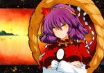1girl autumn_leaves bangs crossed_arms hair_ornament hill lake leaf_hair_ornament long_sleeves mirror nail_polish puffy_short_sleeves puffy_sleeves purple_hair qqqrinkappp red_eyes red_shirt rope shimenawa shirt short_hair short_over_long_sleeves short_sleeves smile sunset touhou traditional_media white_sleeves yasaka_kanako