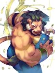 1boy animal_ears arsalan_(tokyo_houkago_summoners) bara beard blonde_hair bulge chest facial_hair fighting_stance furry green_hair highres lion_boy lion_ears lion_tail male_focus multicolored_hair muscle nipples shirtless short_hair slime solo sword tail thick_thighs thighs tokyo_houkago_summoners two-tone_hair weapon zuoyu4