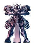 black_eyes fantasy holding holding_sword holding_weapon horns looking_at_viewer mecha no_humans original solo standing sword taedu weapon white_background