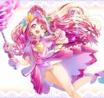 1girl :d absurdres cure_grace dress earrings floating_hair flower gloves hair_flower hair_ornament healin'_good_precure heart heart_hair_ornament high_ponytail highres holding holding_staff jewelry long_hair open_mouth pink_dress pink_eyes pink_hair precure rabirin_(precure) shiny shiny_hair shiny_skin short_dress smile solo staff very_long_hair white_background white_dress white_footwear white_gloves yellow_flower yuutarou_(fukiiincho)