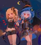 2girls :d alternate_costume bare_legs bat_wings belt black_dress black_shirt black_shorts blonde_hair blue_hair blurry blush bokeh breasts brooch choker closed_mouth cowboy_shot crescent crop_top cross depth_of_field dress expressionless eyebrows_visible_through_hair fangs flandre_scarlet hair_ribbon hat highres holding holding_wand horns jewelry laevatein_(tail) long_sleeves looking_at_viewer midriff multiple_girls night night_sky open_mouth red_eyes reddizen remilia_scarlet ribbon shirt short_hair shorts side_ponytail single_sleeve sketch sky small_breasts smile standing star_(sky) tail thighs touhou wand wide_sleeves wings witch_hat