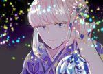 1girl bangs blonde_hair blue_eyes blue_kimono blush eyebrows_visible_through_hair floral_print flower hair_flower hair_ornament japanese_clothes katou_asuka kimono long_hair looking_at_viewer toll_shi watashi_ga_motenai_no_wa_dou_kangaetemo_omaera_ga_warui! yukata