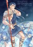6+boys angry arm_tattoo bare_chest black_gloves blue_bodysuit blue_hair bodysuit boots bracelet cape character_name chest_tattoo clenched_teeth cu_chulainn_(fate)_(all) cu_chulainn_(fate/grand_order) cu_chulainn_(fate/prototype) cu_chulainn_alter_(fate/grand_order) dated earrings facepaint facial_mark fate/grand_order fate/prototype fate/stay_night fate_(series) fingerless_gloves gae_bolg gem gloves happy_birthday highres hood jewelry lancer leg_tattoo long_hair looking_at_viewer male_focus multiple_boys multiple_persona polearm ponytail red_eyes ro_(pixiv34009774) shirt shooting_star signature sky spear star_(sky) starry_sky tattoo teeth tunic weapon white_shirt wide-eyed