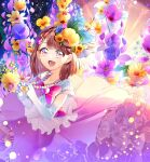 1girl :d absurdres blue_flower brown_eyes brown_hair collarbone flower gloves hair_flower hair_ornament hairclip hanadera_nodoka healin'_good_precure heart_pendant highres jewelry layered_skirt lens_flare long_skirt looking_at_viewer medium_hair necklace open_mouth pink_neckwear pink_skirt precure purple_flower shiny shiny_hair shirt short_sleeves skirt smile solo white_gloves white_shirt yellow_flower yuutarou_(fukiiincho)