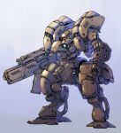 blue_background clenched_hand glowing glowing_eye gun holding holding_gun holding_weapon mecha no_humans original red_eyes science_fiction solo standing taedu weapon