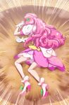 1girl bow braid cure_grace dress gloves green_bow hair_ornament healin'_good_precure heart heart_print high_heels layered_dress long_hair lying on_side pink_dress pink_hair precure print_gloves shiny shiny_hair shoe_bow shoes short_dress short_sleeves solo tj-type1 very_long_hair white_dress white_footwear white_gloves yamcha_pose