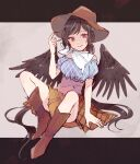 1girl bandana black_hair black_wings blue_shirt boots brown_footwear brown_headwear brown_skirt commentary_request cowboy_boots cowboy_hat feathered_wings full_body grey_background hand_up hat horse_tail knees_up kurokoma_saki long_hair looking_at_viewer mozukuzu_(manukedori) shirt short_sleeves sitting skirt smile solo tail touhou white_neckwear wings
