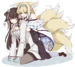 !? 2girls animal_ear_fluff animal_ears arknights armband black_footwear black_legwear blonde_hair blue_gloves blue_headband blush braid braided_ponytail brown_hair cat_ears coat eyebrows_visible_through_hair flower folinic_(arknights) fox_ears fox_tail frills gloves hair_flower hair_ornament headband hug hug_from_behind implied_futanari karasuto kitsune kneeling kyuubi motion_lines multicolored_hair multiple_girls multiple_tails open_mouth oripathy_lesion_(arknights) pantyhose radiation_symbol see-through shoes sketch streaked_hair suzuran_(arknights) symbol_commentary tail tail_wagging torn_clothes torn_legwear white_coat white_legwear yellow_eyes