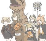 5girls absurdres animal_ears arknights artist_request balloon bear_ears ceobe_(arknights) closed_eyes cosplay dinosaur_costume dog_ears drone english_text feather_hair fox_ears fox_girl fox_tail glasses gummy_(arknights) halloween halloween_basket halloween_costume highres ifrit_(arknights) jurassic_park kroos_(arknights) kroos_(arknights)_(cosplay) kroos_(the_mag)_(arknights) kyuubi multiple_girls multiple_tails owl_ears rabbit_ears shirt silence_(arknights) silence_(arknights)_(cosplay) staff suzuran_(arknights) t-shirt tail trick-or-treating