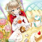 1girl absurdres bangs blush cake cape cookie cup day flower food fork frilled_sleeves frills from_above fruit gazebo girls_frontline gold_trim green_eyes hair_ribbon highres holding holding_fork jar kawaiihusky kettle leaf long_sleeves looking_at_viewer outdoors pink_flower pink_rose plate red_cape ribbon rose saucer shirt sidelocks smile solo spoon strawberry sugar_cube swept_bangs table tablecloth tea teacup tsurime two_side_up vase webley_revolver_(girls_frontline) white_ribbon white_shirt wooden_floor
