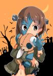 1girl absurdres bandages bangs barashiya bare_tree bat black_shirt blue_nails blue_skin boko_(girls_und_panzer) brown_eyes brown_hair brown_jacket claw_pose commentary crescent_moon eyebrows_visible_through_hair girls_und_panzer graveyard halloween halloween_costume highres holding holding_stuffed_toy jacket long_sleeves looking_at_viewer moon navel nishizumi_miho open_clothes open_jacket orange_background orange_nails outline patchwork_skin screw screw_in_head shirt short_hair solo stuffed_animal stuffed_toy teddy_bear torn_clothes torn_jacket torn_shirt tree upper_body white_outline