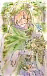 1boy anesuke090 animal animal_on_shoulder bandaged_arm bandages bird bird_on_shoulder blonde_hair blue_eyes bluebird bouquet cloak closed_mouth crown fate/extra fate_(series) flower green_cloak hair_over_one_eye highres holding holding_bouquet hood hooded_cloak looking_at_viewer male_focus outdoors robin_hood_(fate) rose short_hair smile traditional_media tree watercolor_(medium) white_flower white_rose