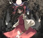 1girl bow brown_eyes brown_hair commentary_request cowboy_shot detached_sleeves full_moon gohei hair_bow hair_tubes hakurei_reimu hitodama holding long_hair long_sleeves looking_at_viewer moon night outdoors red_bow red_neckwear red_pupils red_shirt shi_chimi shirt solo touhou tree wide_sleeves wind