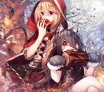 2girls absurdres animal_ears apple bare_tree bat big_bad_wolf big_bad_wolf_(cosplay) black_hair blonde_hair blush_stickers boned_meat candy commentary_request cosplay earrings eating fake_animal_ears food fruit gloves halloween halloween_costume highres hood hood_up jack-o'-lantern jewelry little_red_riding_hood little_red_riding_hood_(grimm) little_red_riding_hood_(grimm)_(cosplay) long_hair meat multiple_girls orange_eyes original paw_gloves paws red_eyes sharp_teeth teeth tree yun_(outsidey)