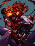 1boy absurdres belt_buckle black_bodysuit bodysuit brown_hair buckle capelet concrete fire forehead_protector gloves guilty_gear guilty_gear_xx hair_between_eyes highres holding holding_flame holding_sword holding_weapon huge_filesize looking_at_viewer luttymoar male_focus muscle nose order-sol popped_collar reverse_grip solo sword tabard uniform weapon white_capelet white_gloves yellow_eyes