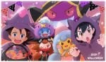 2boys ash_ketchum banette bangs black_hair blue_eyes blush bow brown_eyes brown_hair candy claw_pose clothed_pokemon commentary_request cosplay dated drifloon drifloon_(cosplay) eyelashes fang food gen_1_pokemon gen_3_pokemon gen_4_pokemon gen_8_pokemon gengar gengar_(cosplay) goh_(pokemon) halloween halloween_basket hattrem hattrem_(cosplay) hood hood_up ichi_(pikapikapocket) long_sleeves looking_at_viewer male_focus mega_banette mega_banette_(cosplay) mega_pokemon mismagius mismagius_(cosplay) multiple_boys open_mouth orange_bow pikachu pokemon pokemon_(anime) pokemon_(creature) pokemon_swsh_(anime) raboot smile sobble star_(symbol) teeth tongue