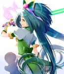 1girl absurdres akimoto_komachi back_bow beam_saber blue_hair bow bug butterfly cowboy_shot cure_mint elbow_gloves fingerless_gloves floating_hair flower from_side gloves green_bow green_eyes grin hair_flower hair_ornament highres holding holding_sword holding_weapon insect long_hair miniskirt pink_flower precure profile shiny shiny_hair shirt short_sleeves skirt skirt_lift smile solo standing sword twintails very_long_hair weapon white_background white_shirt white_skirt yellow_gloves yes!_precure_5 yes!_precure_5_gogo! yuutarou_(fukiiincho)