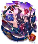 1girl absurdres aircraft bangs black_hair blue_jacket blue_skirt breasts clouds earrings essual_(layer_world) fate/grand_order fate_(series) high_heels highres hoop_earrings hot_air_balloon ishtar_(fate)_(all) ishtar_(fate/grand_order) jacket jewelry long_hair long_sleeves looking_at_viewer medium_breasts necklace open_mouth pencil_skirt red_eyes red_footwear red_shirt revision shirt skirt sky solo tiara two_side_up