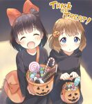 2girls :d :o bag bangs black_cloak blue_eyes bow brown_hair candy candy_cane carrying chocolate cloak closed_eyes commentary cosplay english_text eyebrows_visible_through_hair food hair_bobbles hair_ornament halloween halloween_basket halloween_costume holding hood hood_down hooded_cloak idolmaster idolmaster_million_live! jack-o'-lantern jack-o'-lantern_hair_ornament kiki kiki_(cosplay) lollipop long_sleeves looking_at_viewer majo_no_takkyuubin medium_hair multiple_girls nakatani_iku open_mouth red_bow satchel smile standing suou_momoko toma_(shinozaki) trick_or_treat
