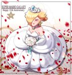 1girl absurdres blonde_hair bouquet breasts bridal_veil bride closed_eyes dress earrings elbow_gloves flower gloves highres holding holding_bouquet jewelry long_dress long_hair mario_(series) medium_breasts ponytail print_dress rosalina sarukaiwolf sleeveless sleeveless_dress solo star_(symbol) star_earrings star_print strapless strapless_dress super_mario_galaxy tiara veil wedding_dress white_dress white_gloves