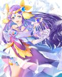 1girl :d absurdres bird blue_eyes circlet collarbone criss-cross_halter cure_earth dress earrings elbow_gloves floating_hair fuurin_asumi gloves hair_intakes hair_ornament halterneck healin'_good_precure heart heart_hair_ornament highres holding holding_instrument instrument jewelry long_hair looking_at_viewer off-shoulder_dress off_shoulder open_mouth precure purple_dress purple_hair shiny shiny_hair shiny_skin smile solo thighlet very_long_hair white_feathers white_gloves yuutarou_(fukiiincho)