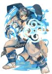 1boy :o absurdres animal_ears bara bare_chest chest chest_hair fighting_stance full_body furry grey_fur grey_hair headband highres horkeu_kamui_(tokyo_houkago_summoners) jacket jacket_on_shoulders male_focus multicolored_hair muscle pelvic_curtain revealing_clothes short_hair silver_hair solo tail thick_thighs thighs tokyo_houkago_summoners two-tone_fur vambraces white_fur wolf_boy wolf_ears wolf_tail yellow_eyes zuoyu4