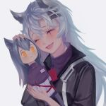 1girl :d aizacay animal_ears arknights artist_name black_nails character_doll character_name closed_eyes dated doll facing_viewer grey_hair hair_ornament hairclip holding holding_doll lappland_(arknights) open_mouth silver_hair smile texas_(arknights) upper_body white_background