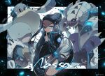 1girl alternate_costume artist_name blue_eyes character_name coat commentary_request dark_skin drednaw eyelashes floating_hair gen_2_pokemon gen_3_pokemon gen_7_pokemon gen_8_pokemon golisopod hair_bun hand_up highres index_finger_raised jewelry long_hair long_sleeves looking_at_viewer necklace nessa_(pokemon) odd_(hin_yari) one_eye_closed pelipper pokemon pokemon_(creature) pokemon_(game) pokemon_swsh popped_collar quagsire sidelocks toxapex watermark