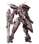 clenched_hands gun holding holding_gun holding_weapon horns looking_down mecha no_humans one-eyed original science_fiction single_horn solo standing taedu weapon