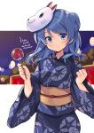 1girl blue_eyes blue_hair blue_kimono blurry breasts candy_apple cowboy_shot dated depth_of_field double_bun floral_print food fox_mask japanese_clothes kantai_collection kimono looking_at_viewer mask mask_on_head medium_breasts odawara_hakone smile solo twitter_username urakaze_(kantai_collection) yukata