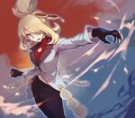 1girl black_gloves black_pants blonde_hair commentary_request cynthia_(pokemon) gloves grey_eyes grey_jacket hair_bun hair_ornament hair_over_one_eye highres holding holding_poke_ball jacket long_sleeves looking_to_the_side open_mouth outstretched_arm pants poke_ball poke_ball_(basic) pokemon pokemon_(game) pokemon_masters_ex smile solo teeth tongue tugo