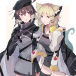 2girls ahoge animal_ear_fluff animal_ears arknights bangs beret black_headwear blush breasts brown_hair cape commentary_request cowboy_shot eyebrows_visible_through_hair gloves hair_between_eyes hair_ornament hat long_sleeves multicolored_hair multiple_girls open_mouth orange_eyes plume_(arknights) sasa_onigiri short_hair side-by-side tail utage_(arknights) violet_eyes