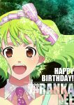 1girl :d bow bow_hairband brown_eyes character_name collarbone detached_collar floating_hair green_background green_hair hair_bow hairband happy_birthday kutsuno looking_at_viewer macross macross_frontier medium_hair open_mouth pink_neckwear portrait ranka_lee shiny shiny_hair smile solo