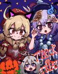 3girls :3 ahoge bangs blood blood_from_mouth blue_eyes fang genshin_impact hair_between_eyes halloween halo hat_feather highres jewelry klee_(genshin_impact) multiple_girls necklace open_mouth paimon_(genshin_impact) pointy_ears ppyumeuleulu qiqi red_eyes red_headwear short_hair violet_eyes white_hair