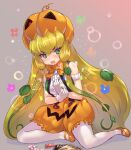 1girl armband bare_shoulders blonde_hair blush bow bowtie center_frills commentary_request embarrassed eyebrows_visible_through_hair frills gloves green_eyes green_hair green_vest hair_tubes jack-o'-lantern_(kemono_friends) kemono_friends long_hair mary_janes multicolored_hair orange_footwear orange_neckwear orange_shorts pantyhose plant pumpkin_hat pumpkin_pants shirt shoes shorts sitting sleeveless solo tadano_magu vest vines white_gloves white_legwear white_shirt