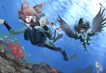 2girls air_bubble animal_ears bird_wings black_eyes black_hair black_wings bow braid bubble cat_ears cat_tail commentary_request coral day diving diving_mask diving_regulator diving_suit extra_ears fish flippers full_body hair_bow kaenbyou_rin long_hair looking_at_another multiple_girls multiple_tails nekomata outdoors pointy_ears red_eyes redhead reiuji_utsuho scuba scuba_gear scuba_tank spread_wings submerged sunyup swimming tail touhou turtle twin_braids two_tails underwater wetsuit wings