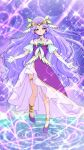 1girl anklet bangs blue_eyes circlet closed_mouth collarbone criss-cross_halter cure_earth dress elbow_gloves full_body gloves halterneck healin'_good_precure highres jewelry layered_skirt long_hair looking_at_viewer miniskirt parted_bangs precure pumps purple_dress purple_footwear purple_hair shiny shiny_hair skirt skirt_under_dress smile solo thighlet tj-type1 very_long_hair white_gloves white_skirt