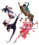 4girls absurdres action amputee ankle_socks ball_and_chain bangs black_hair black_sweater blazer blue_jacket bracelet brown_eyes chocolate_(movie) crossover dead_sushi double_amputee floral_print flying_kick food gazelle_(kingsman) green_shirt grey_skirt highres hime_cut holding holding_weapon jacket japanese_clothes jewelry keiko_(dead_sushi) kicking kill_bill kimono kingsman:_the_secret_service kneehighs long_hair messy_hair meteor_hammer multiple_girls no_socks nunchaku pink_kimono plaid plaid_skirt pleated_skirt prosthesis prosthetic_leg prosthetic_weapon school_uniform shirt short_hair shorts simple_background skirt smile sushi sweater twintails weapon white_background white_footwear white_legwear white_shirt wristband yellow_footwear yellow_shorts yuubari_gogo zack_(samuraigirl) zen_(chocolate)