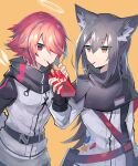 2girls animal_ear_fluff animal_ears arknights bangs black_gloves black_hair commentary_request detached_wings eating expressionless exusiai_(arknights) eyebrows_visible_through_hair fingerless_gloves food food_in_mouth gloves hair_between_eyes hair_over_one_eye halo holding holding_food jacket long_hair long_sleeves multiple_girls orange_background orange_eyes pocky red_eyes redhead sasa_onigiri short_hair simple_background smile texas_(arknights) upper_body white_jacket wings wolf_ears