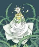 1boy bell bug butterfly closed_mouth covered_eyes dark_souls dark_sun_gwyndolin emlan flower green_background green_capelet green_theme headpiece holding insect pale_skin plant plant_boy rose sash simple_background smile solo souls_(from_software) tentacles thorns vines white_flower white_rose white_skin
