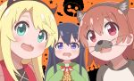3girls absurdres animal_ears black_hair blonde_hair blue_eyes blush brown_hair coffin cookie cross drooling eyebrows_visible_through_hair fake_animal_ears fake_horns fangs food graveyard green_eyes hairband halloween higero_(wataten) highres himesaka_noa holding horns hoshino_hinata long_hair long_sleeves looking_at_viewer multiple_girls open_mouth orange_background poa_mellhen red_eyes saliva shirosaki_hana short_hair sleeves_past_wrists smile star_(symbol) upper_body watashi_ni_tenshi_ga_maiorita! whiskers
