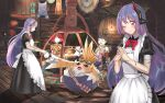 :d ;) absurdres alternate_costume android apron black_dress clothesline dress enmaided highres ii_tea indoors lantern long_dress long_hair maid maid_apron nopon one_eye_closed open_mouth poppi_(xenoblade) poppi_qtpi_(xenoblade) puffy_short_sleeves puffy_sleeves purple_hair pyra_(xenoblade) rex_(xenoblade) robot_ears short_sleeves smile tea tora_(xenoblade) xenoblade_chronicles_(series) xenoblade_chronicles_2