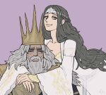 beard black_hair braid brown_eyes closed_mouth commentary crown dark_souls dress emlan english_commentary facial_hair father_and_daughter french_braid grey_hair gwyn_lord_of_cinder long_sleeves looking_at_viewer old_man pink_background queen_of_sunlight_gwynevere shaded_face simple_background smile souls_(from_software) white_dress wide_sleeves