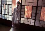 1girl bangs black_hair brown_eyes highres indoors japanese_clothes kimono leaf_print long_hair morifumi original ryokan shadow shouji sliding_doors solo striped tying vertical_stripes yukata