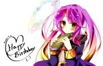 1girl book cape closed_mouth commentary_request cosplay dated fire_emblem fire_emblem_awakening gradient_eyes gradient_hair halo happy_birthday highres hood jibril_(no_game_no_life) long_hair looking_at_viewer magic_circle mii_aki multicolored multicolored_eyes multicolored_hair no_game_no_life orange_eyes pink_hair robin_(fire_emblem) robin_(fire_emblem)_(female) robin_(fire_emblem)_(female)_(cosplay) smile solo twintails very_long_hair wing_ears yellow_eyes