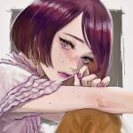 1girl earrings freckles gradient_nails jewelry lipstick looking_at_viewer makeup original portrait purple_hair purple_lipstick purple_nails red_nails shirt short_hair solo tears violet_eyes white_shirt wryx